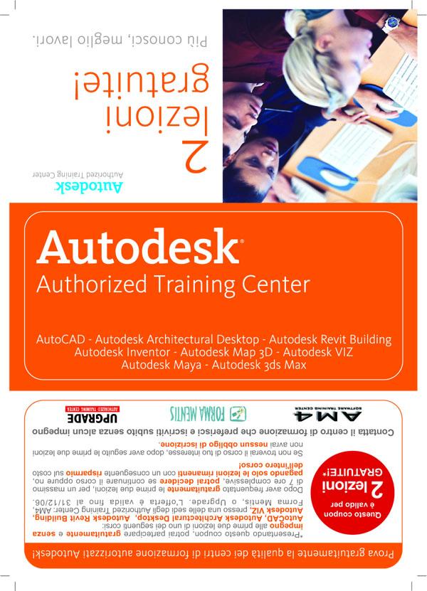 2006-06-10-UPGRADE Brochure promozione corsi Autodesk fronte