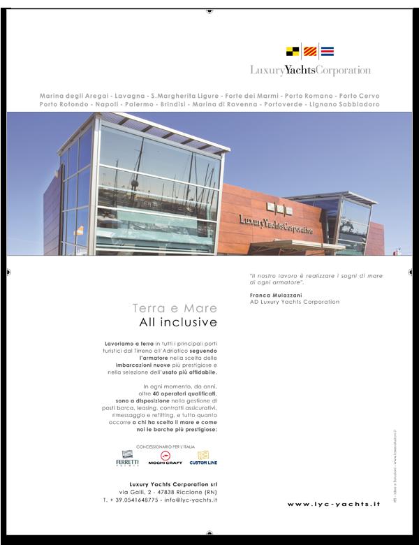 Progetto grafico pagina pubblicitaria istituzionale per Luxury Yachts Corporation pubblicata su Motonautica - Luglio 2008