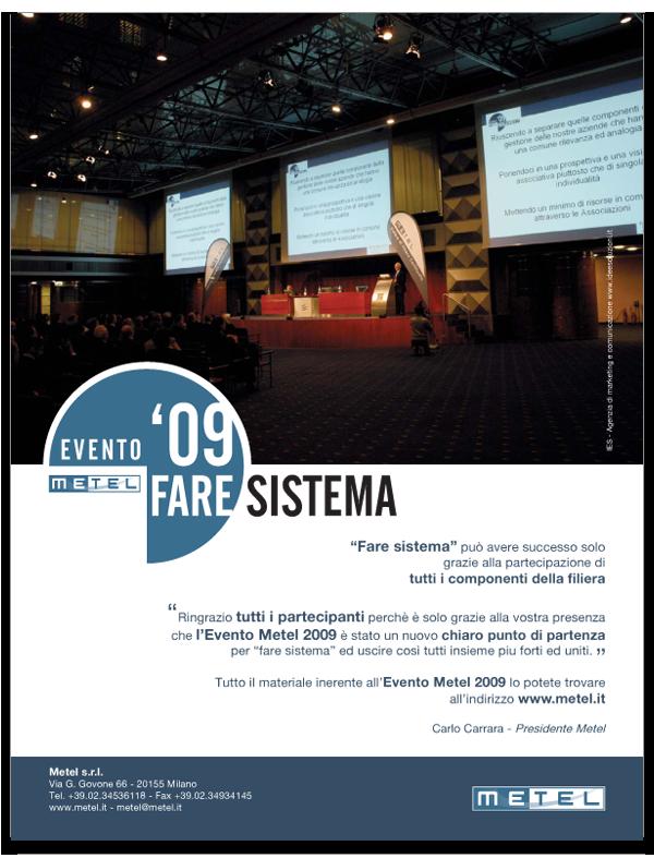 Progetto grafico Pagina Pubblicitaria Evento Metel 2009