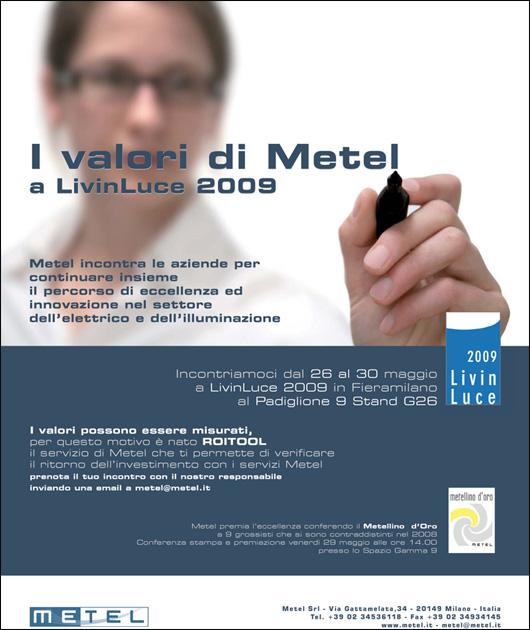 Metel_PaginaPubb_LivingLuce2009_WattAprile09.indd