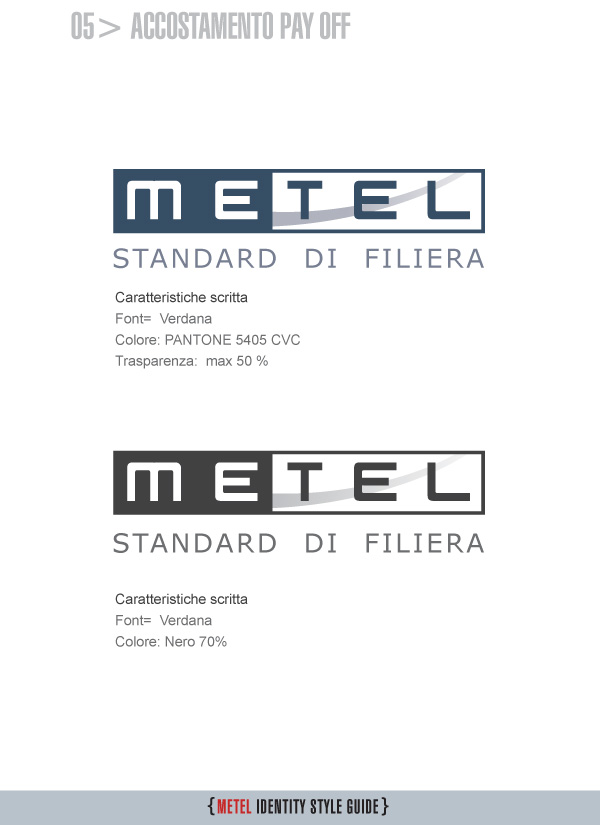 Metel Identity Style Guide - Accostamento Pay Off