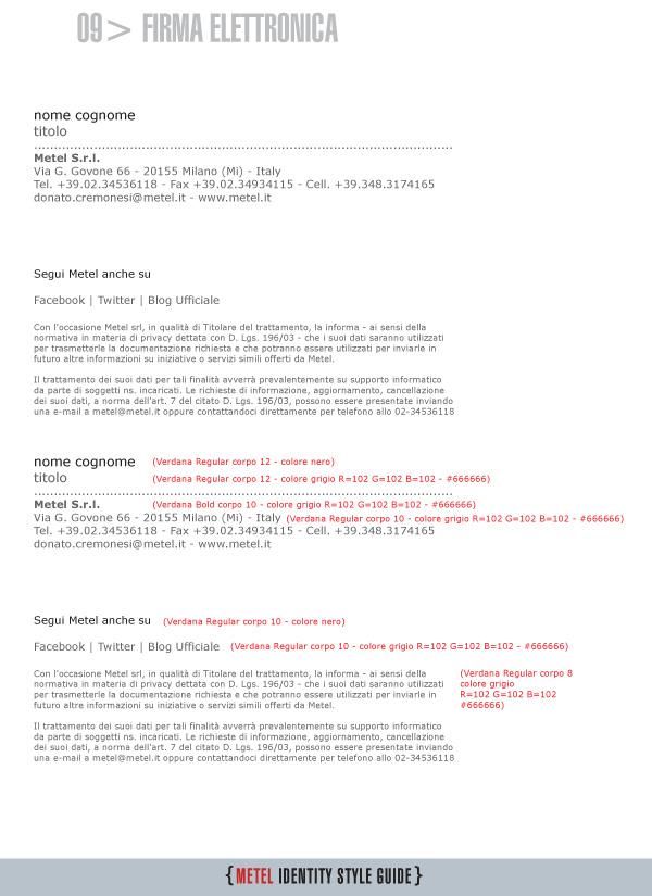 Metel Identity Style Guide - firma della email