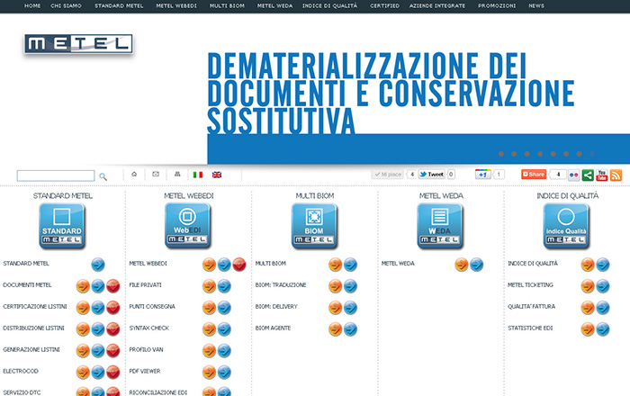 Layout home page nuovo sito Metel