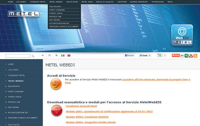 Layout pagina interna nuovo sito internet di Metel