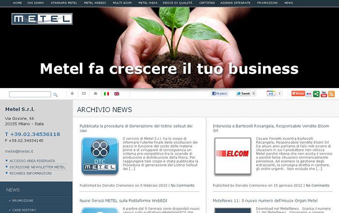 Layout pagina sezione News, nuovo sito internet realizzato per Metel