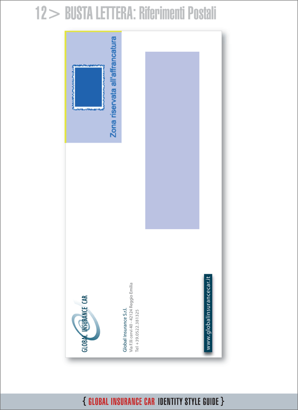 Layout busta per lettera con setup per postalizzazione