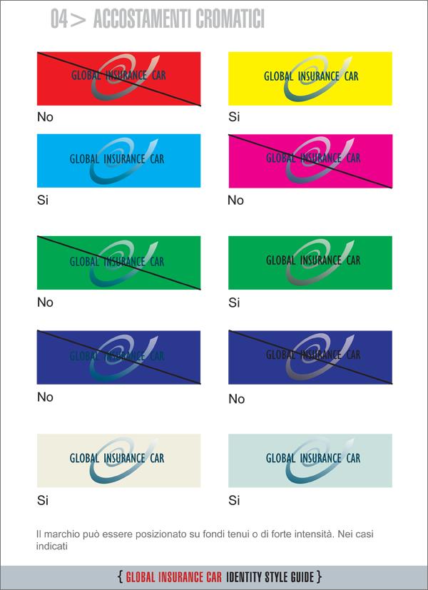 Tavola abbinamento con altri colori quando non viene usato il tassello bianco di fondo