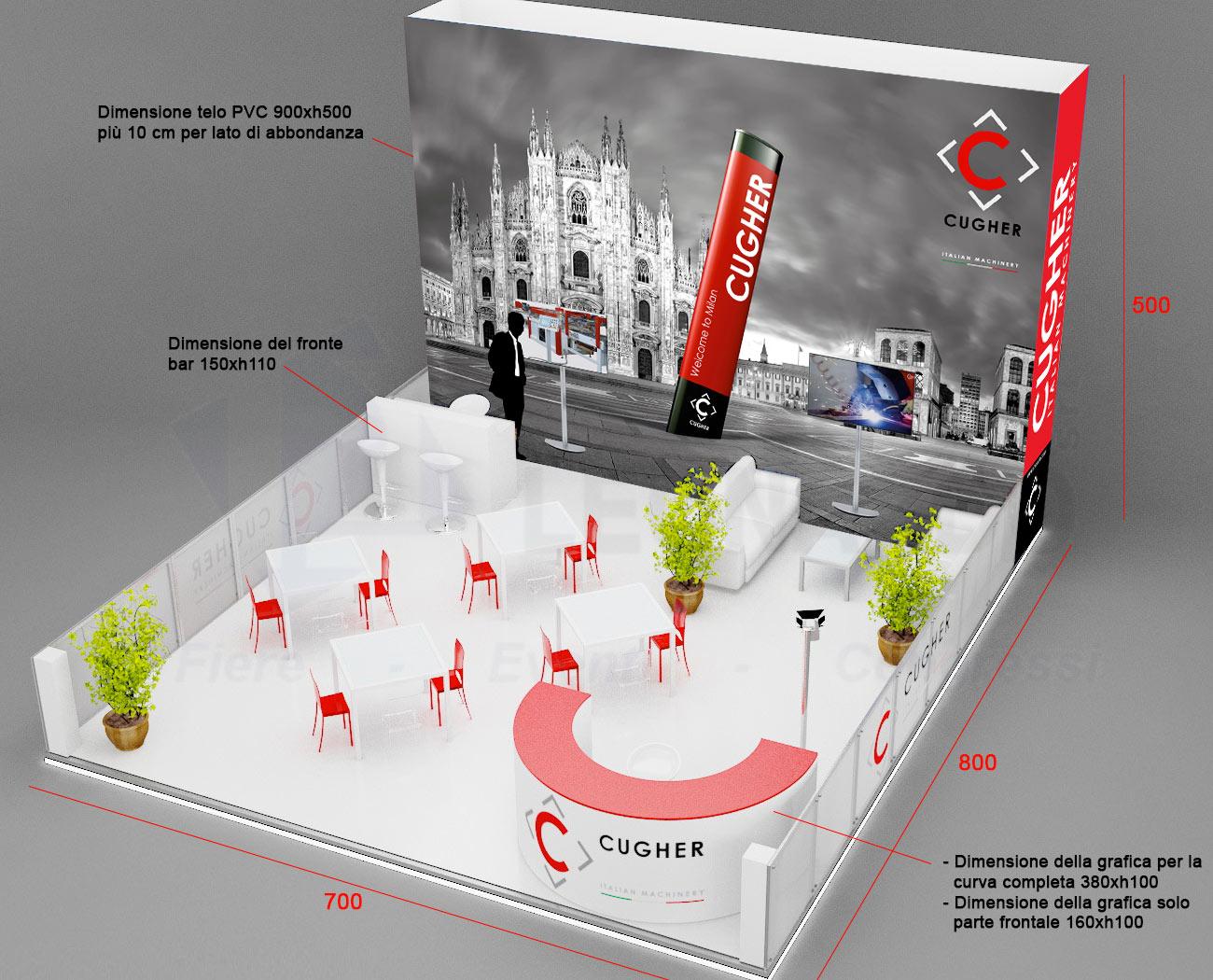 Idee E Soluzioni Progetto Grafico Stand CUGHER Per Fiera Vitrum 2015 Layout 3D