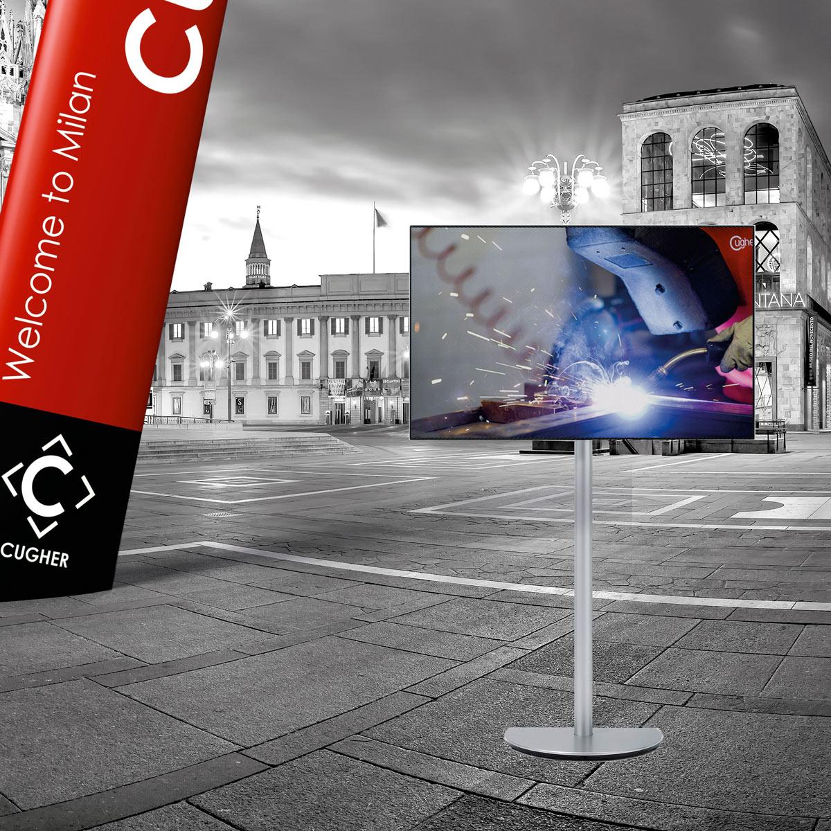 Idee E Soluzioni Progetto Grafico Stand CUGHER Per Fiera Vitrum 2015 Dettaglio Monitor