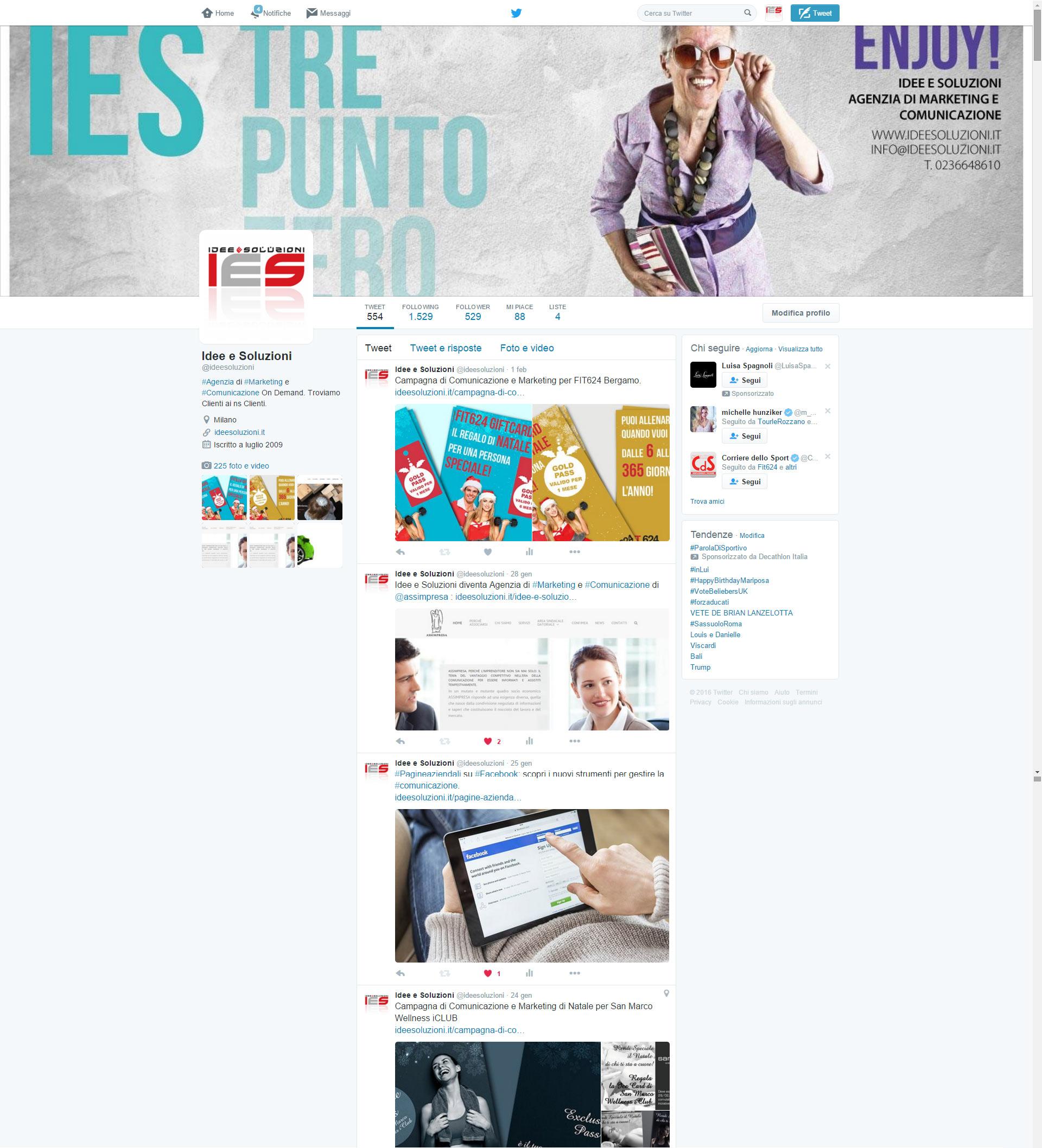 Interfaccia pagina Twitter Idee e Soluzioni Agenzia Marketing e Comunicazione on demand