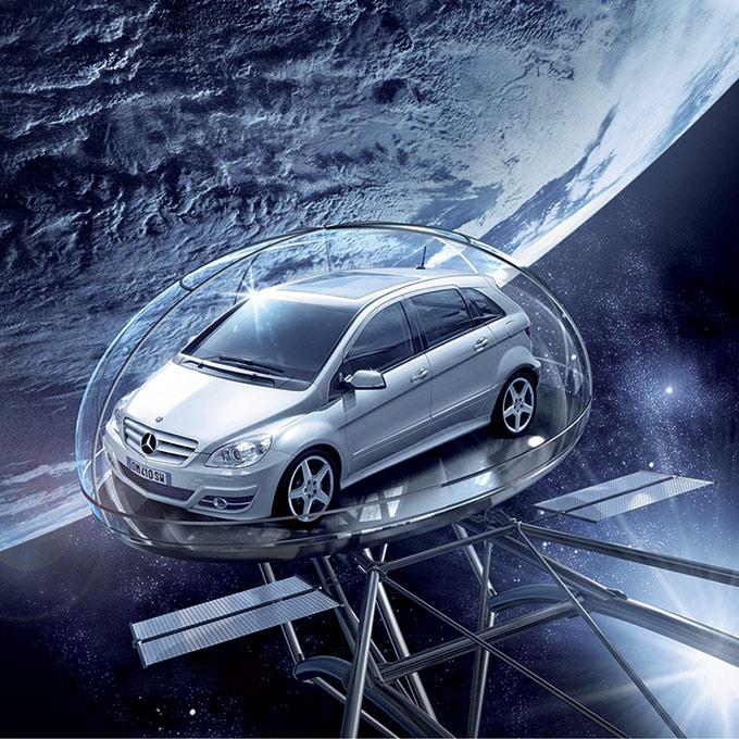 Modelli-3D Pubblicità Mercedes Classe A Nello Spazio Compositing