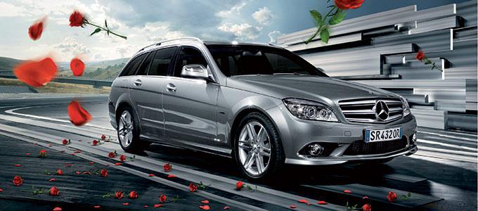 Modelli 3D Pubblicità Mercedes Con Le Rose 01