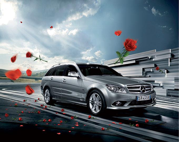 Modelli 3D Pubblicità Mercedes Con Le Rose 02