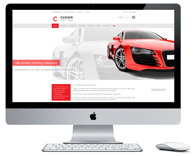 Presentazione Siti Internet Cugher Glass Layout Home Page Sito Www.cugherprintingautomotive.com