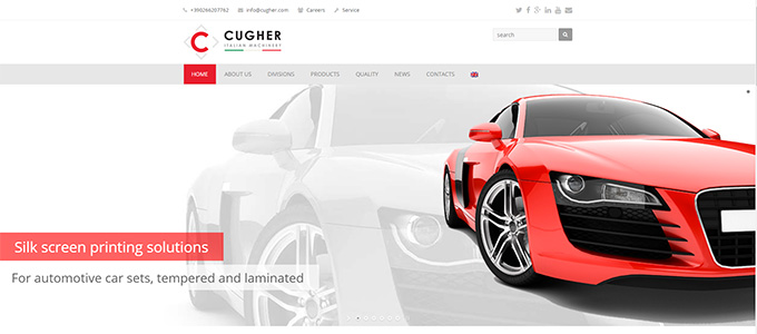 Presentazione Siti Internet Cugher Glass Icona Home Page Sito Cugherprintingautomotive