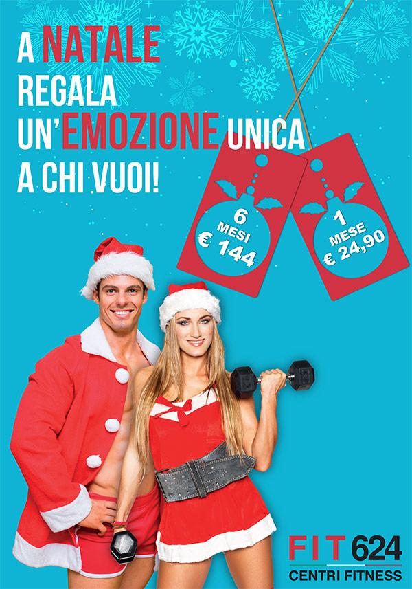 Progetto grafico Poster per promo natalizia Gift Card FIT624 Palestra Bergamo