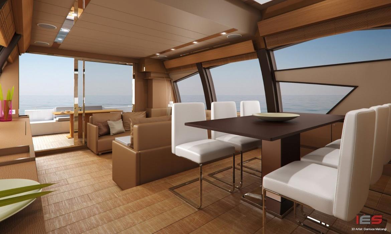 Modellazione e rendering 3d di uno yacht ferretti for Programma per 3d interni