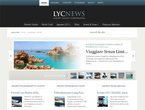 Home page del nuovo sito di LYC [Luxury Yachts Corporation]