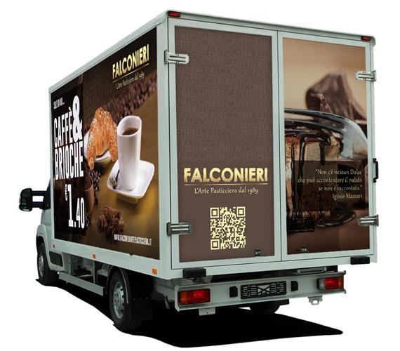 idee e soluzioni progetto grafico furgone Falconieri Arte Pasticciera