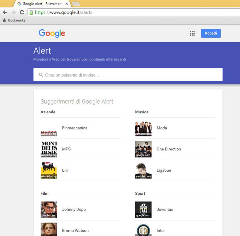 Risultati immagini per google alerts come si usa?