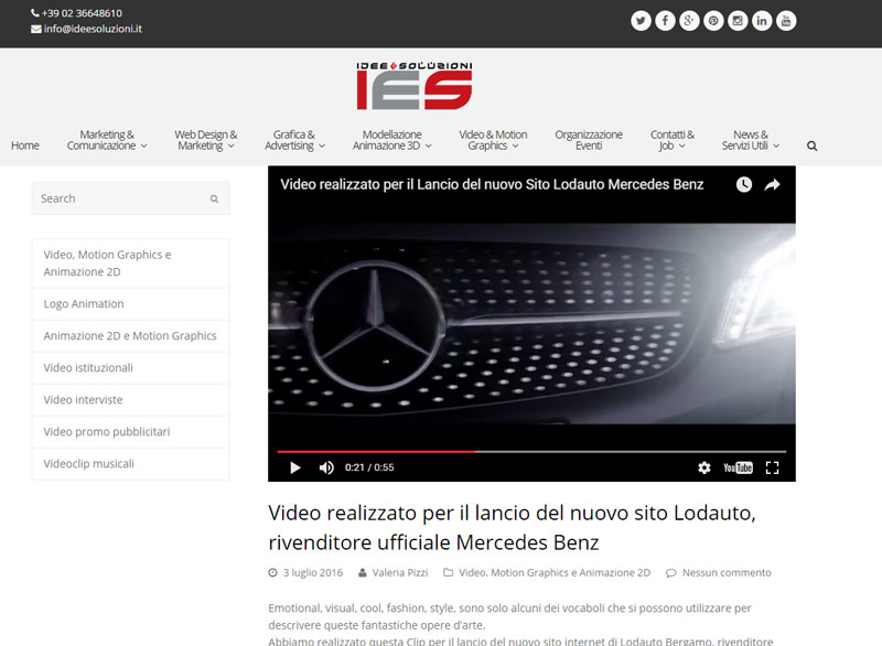 video marketing includete il Video in una pagina o articolo del vostro Sito Web