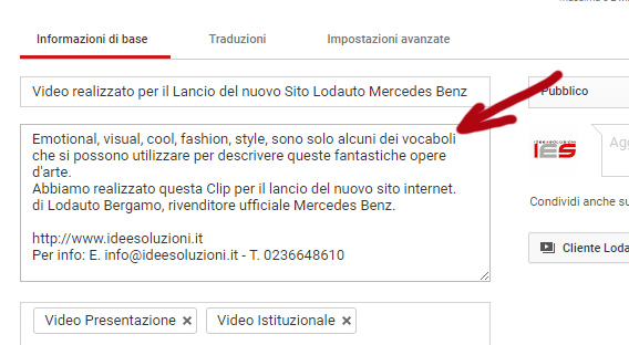 video marketing inserire descrizione del video
